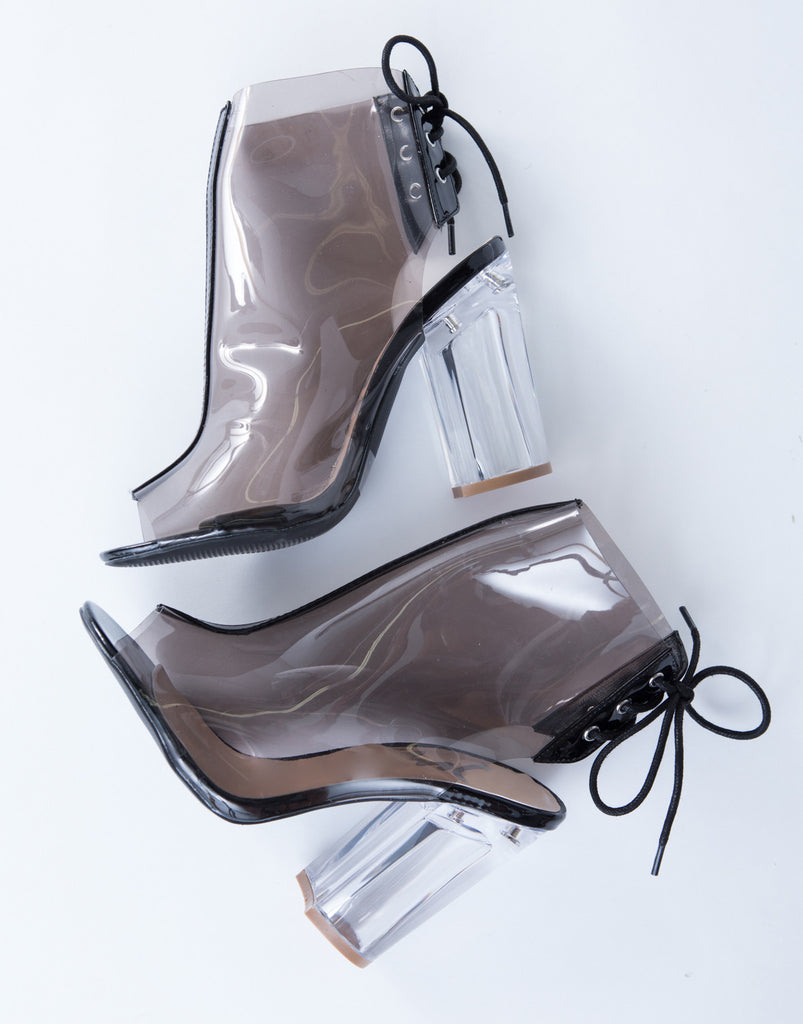 Lace-Up Clear Boots