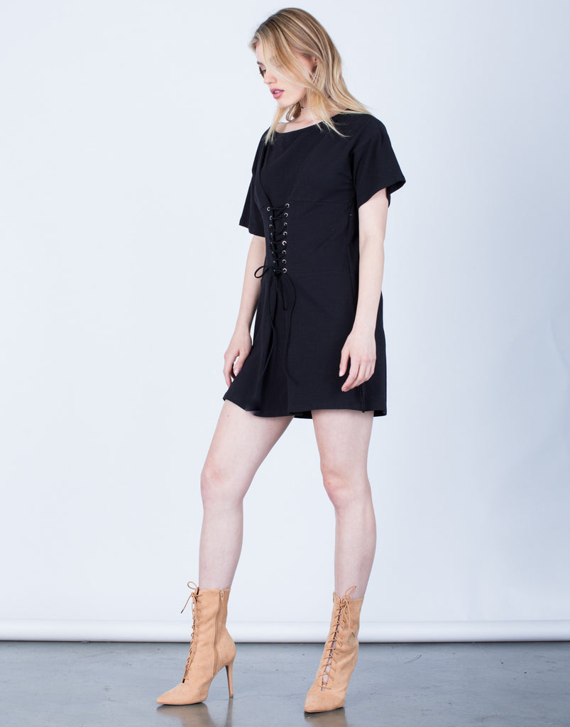 Side View of Lace-Up Corset Dress