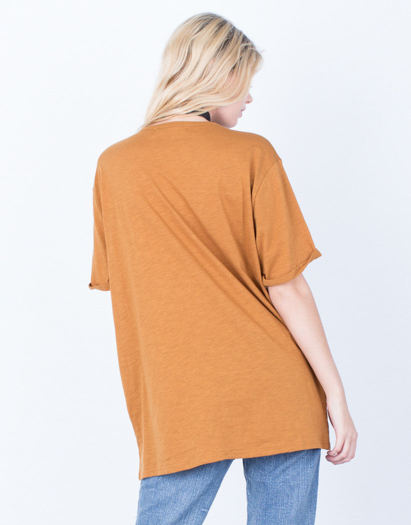 Back View of Lace-Up Deep V Tee