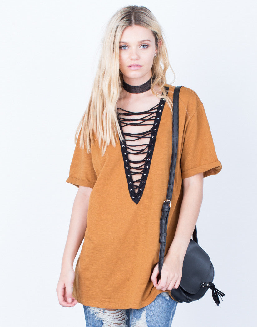 Front View of Lace-Up Deep V Tee