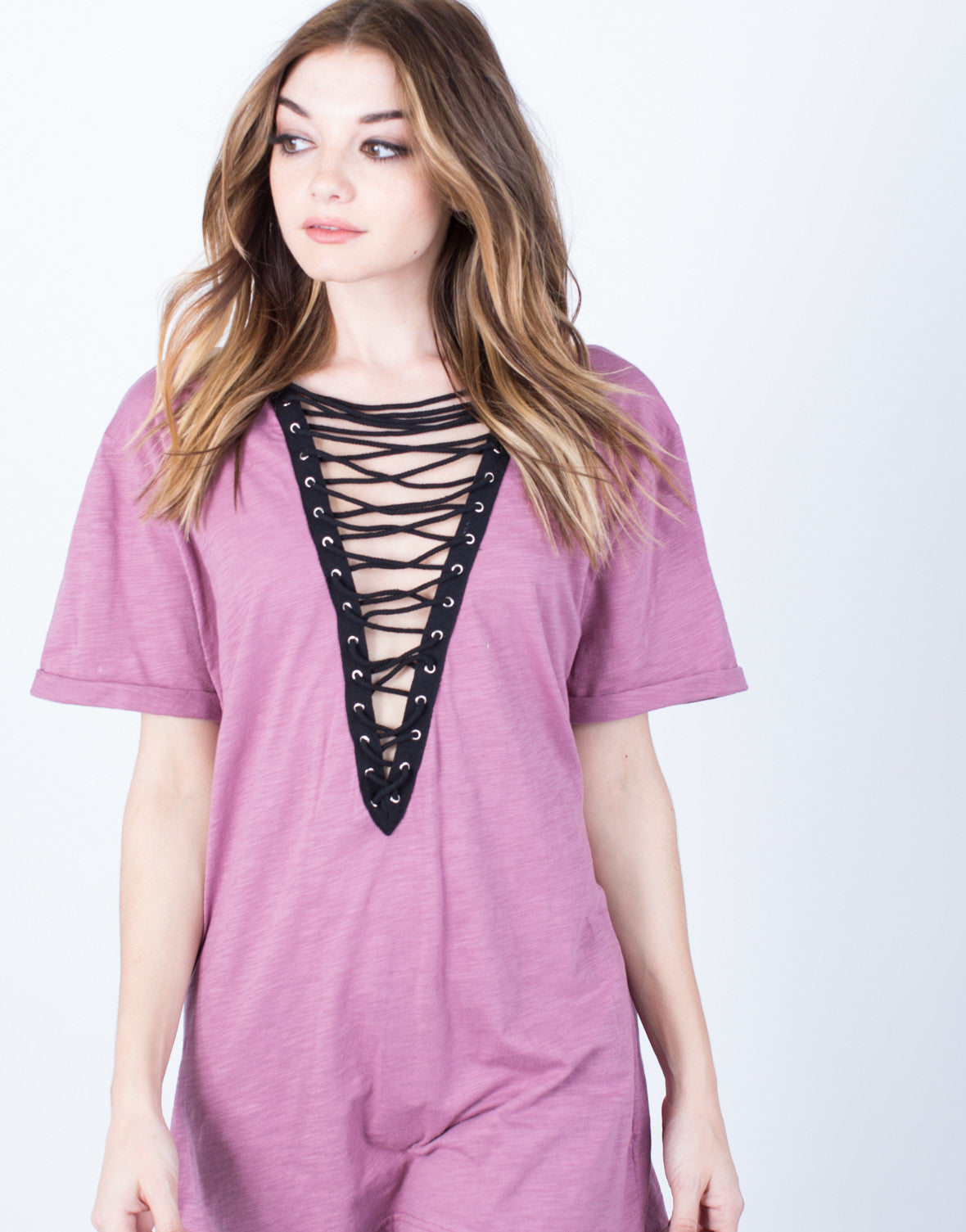 Lace-Up Deep V Tee - Criss Cross T Shirt - Oversized Tee – 2020AVE 742b1d918
