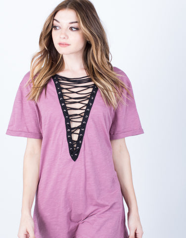 Detail of Lace-Up Deep V Tee