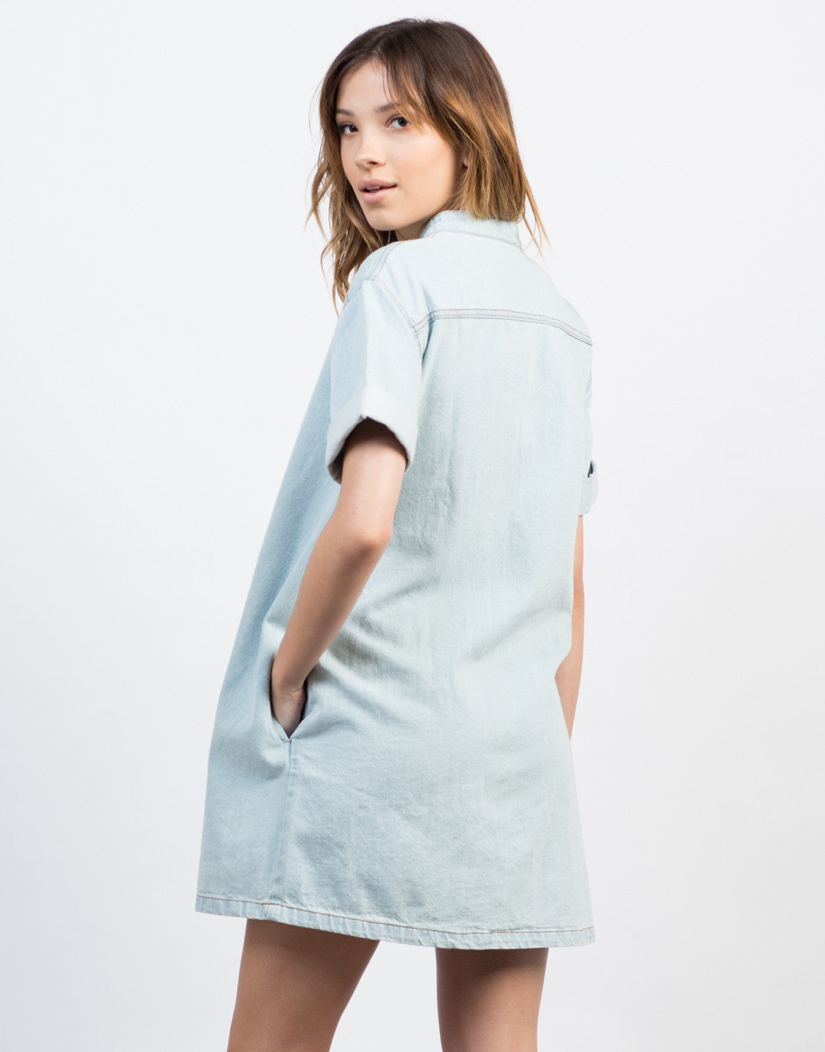 Back View of Lace-Up Denim Dress
