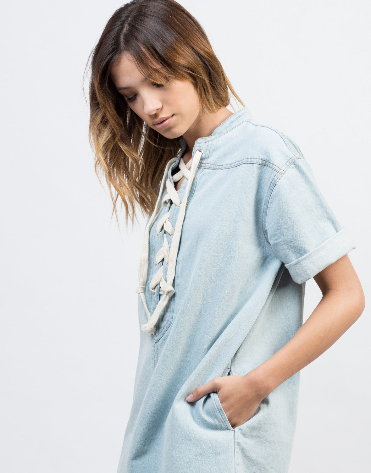 Detail of Lace-Up Denim Dress