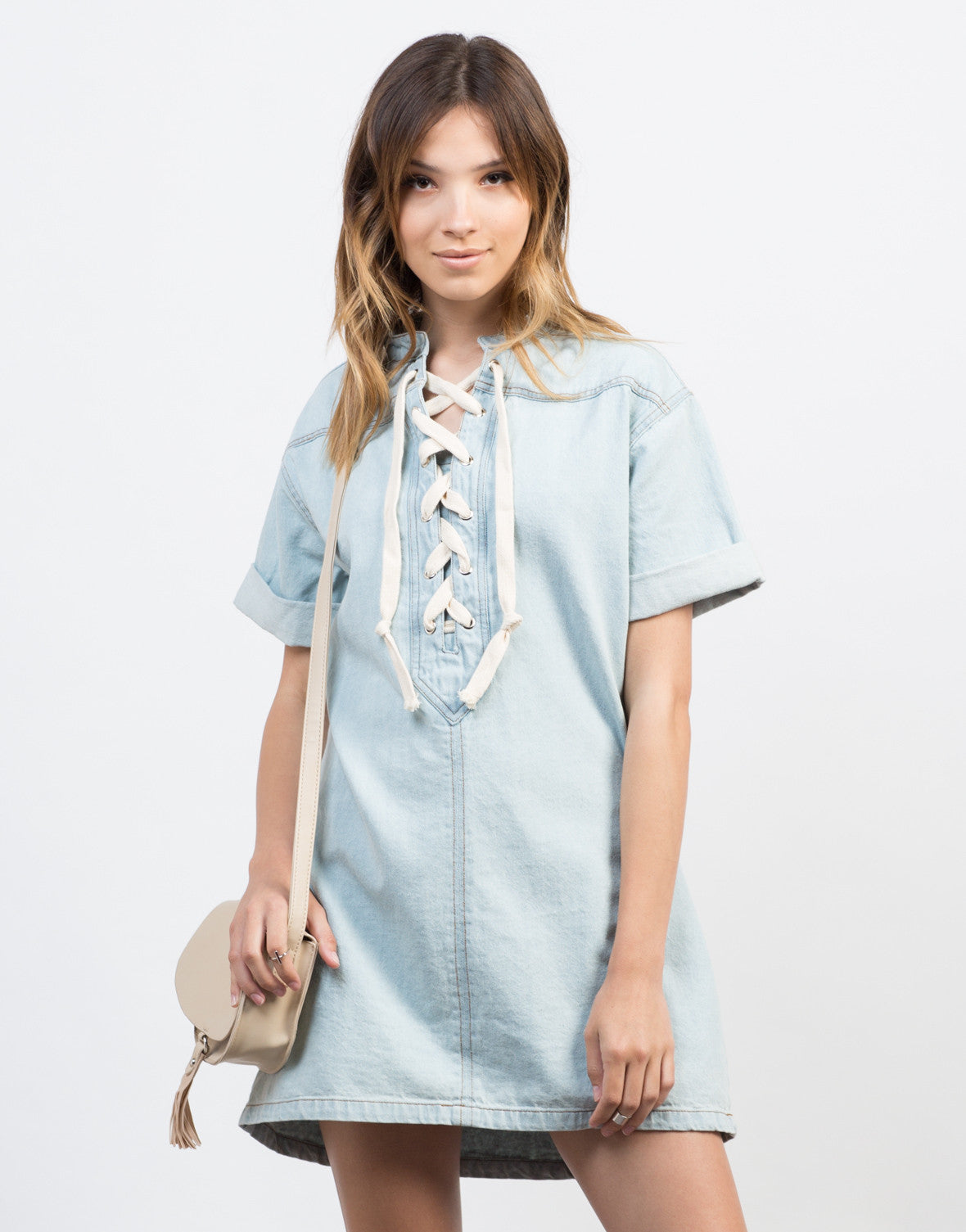 Front View of Lace-Up Denim Dress