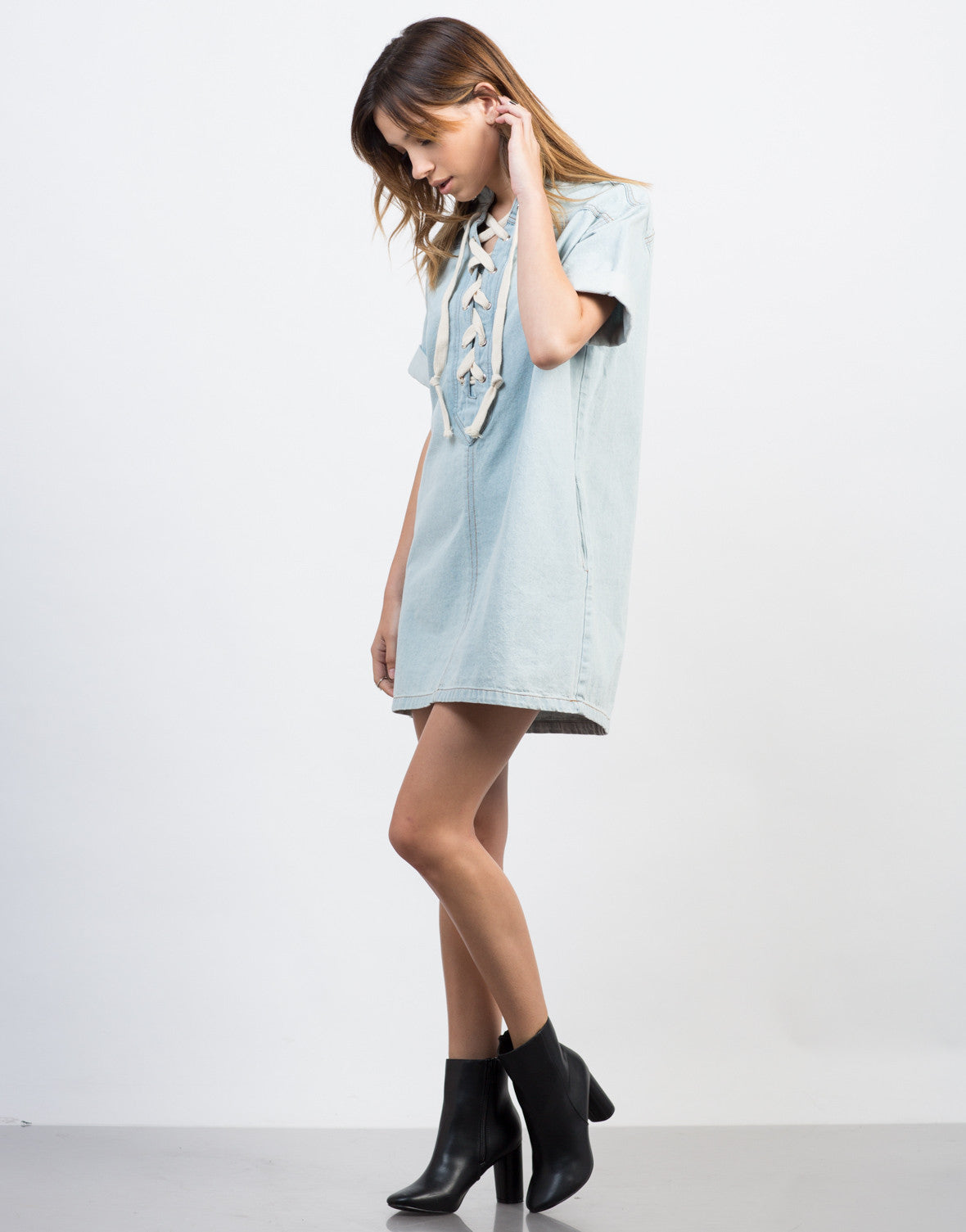 Side View of Lace-Up Denim Dress