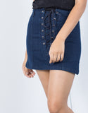 Lace-Up Flared Denim Skirt - 2020AVE