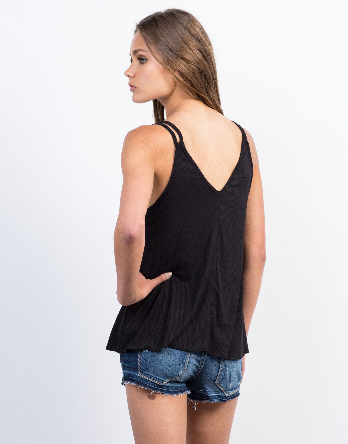 Back View of Lace-Up Flowy Cami Tank