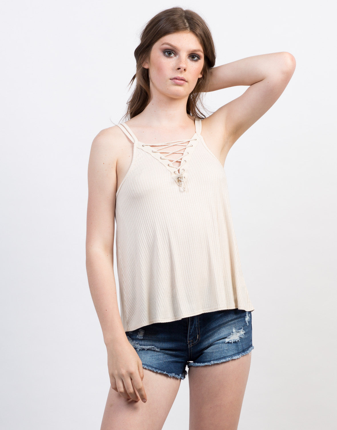 Front View of Lace-Up Flowy Cami Tank