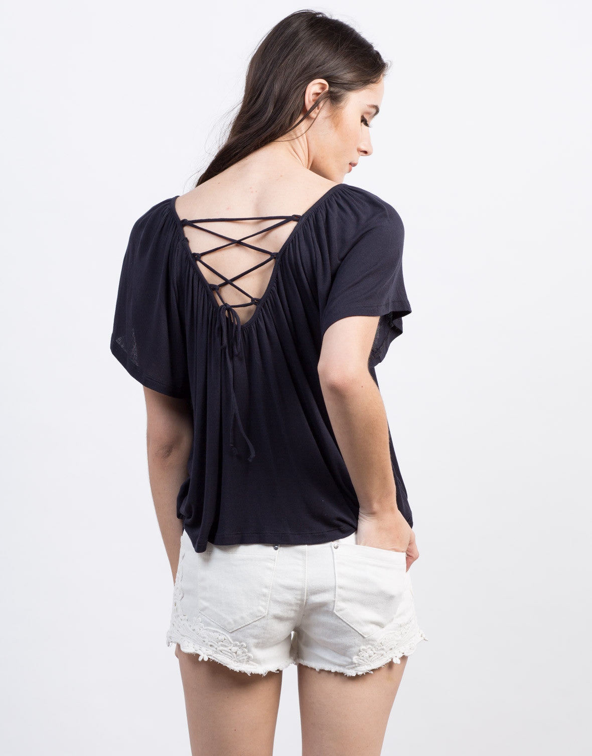 Back View of Lace-Up Flutter Tee