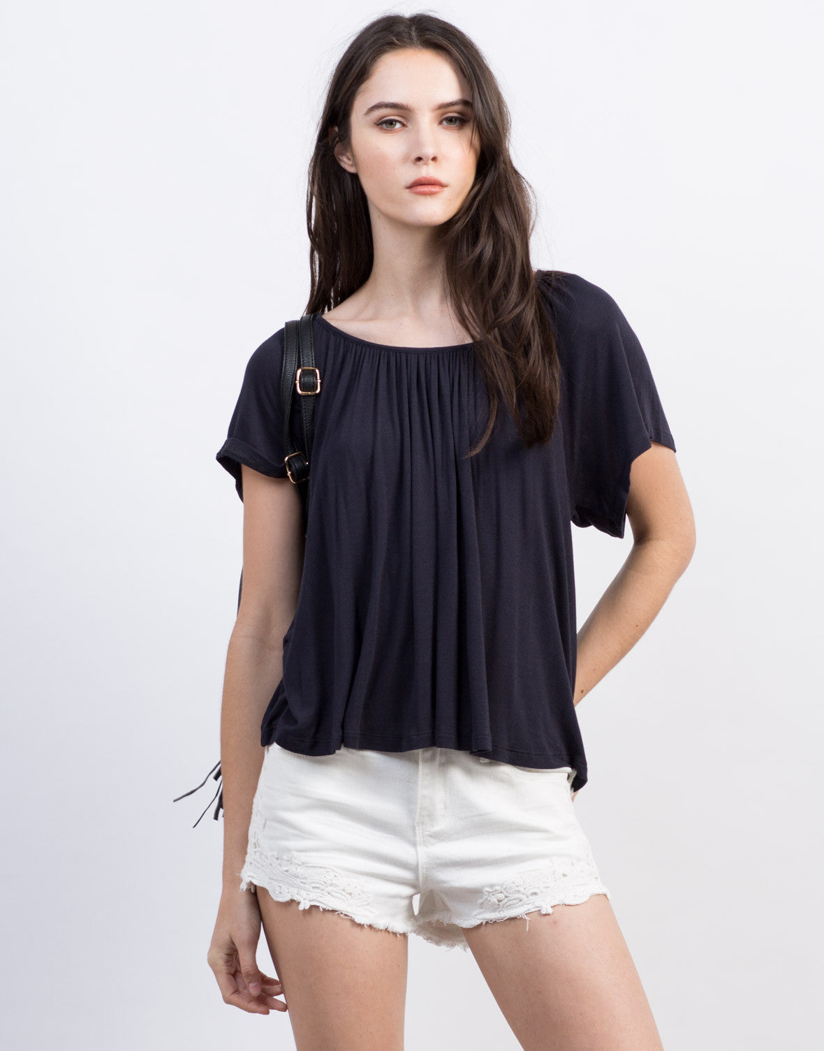 Front View of Lace-Up Flutter Tee