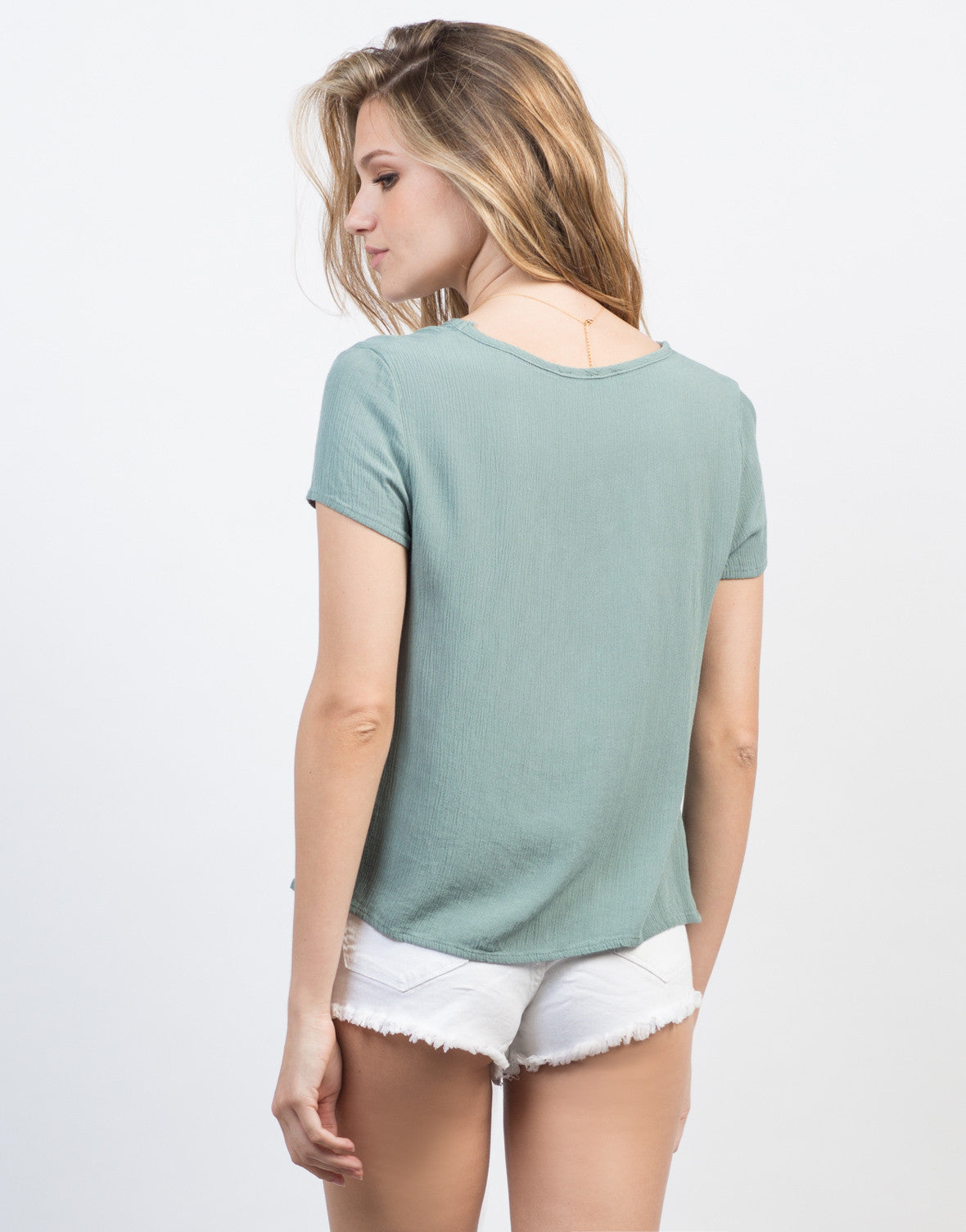 Back View of Lace-Up Gauze Top