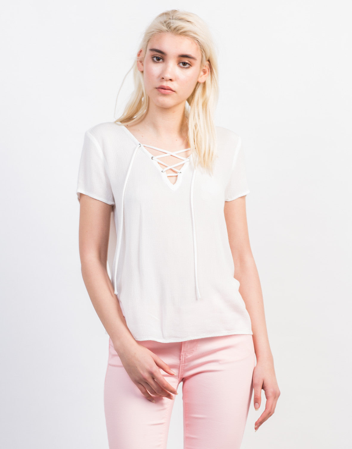 Front View of Lace-Up Gauze Top