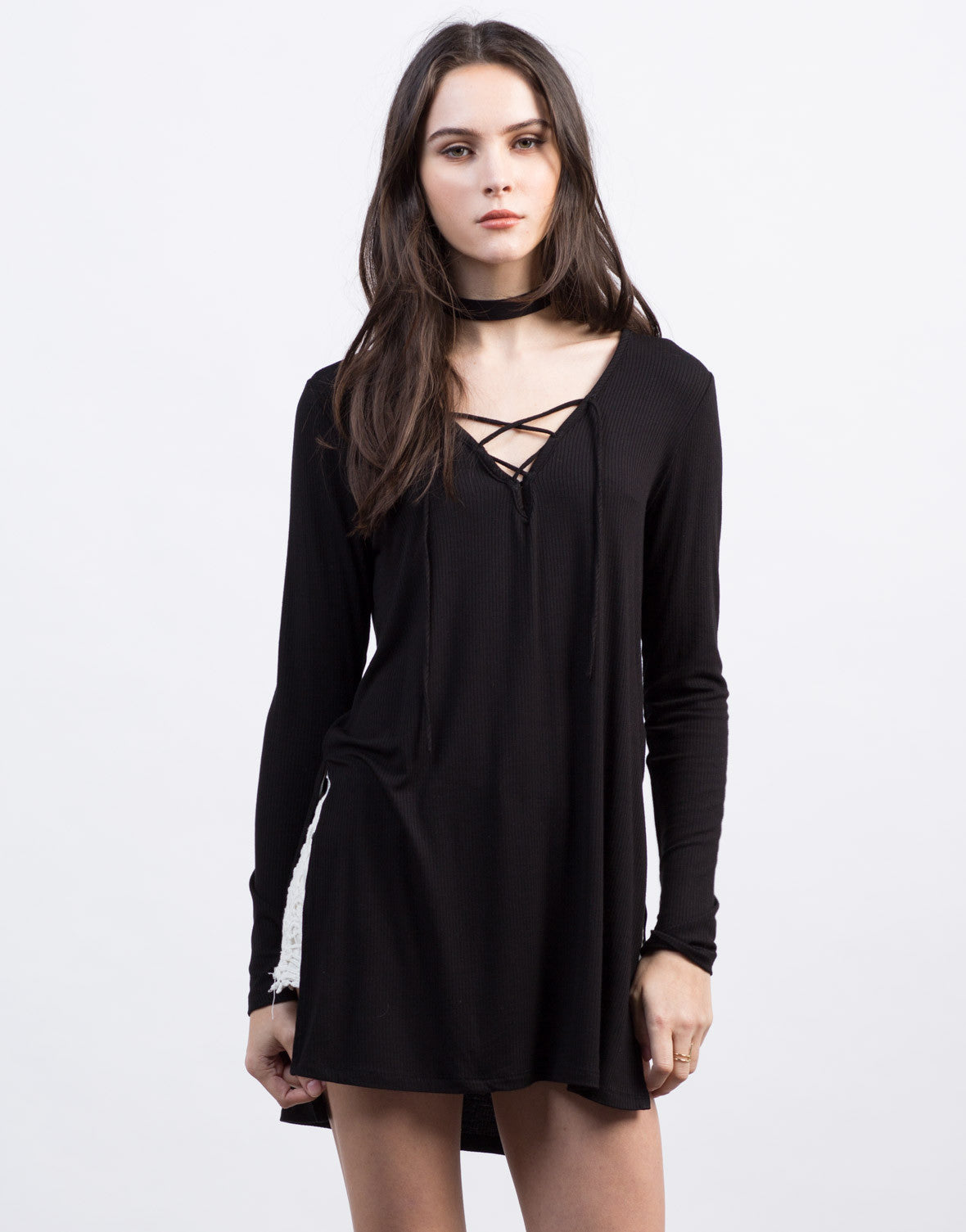 Front View of Lace-Up High Slit Ribbed Top