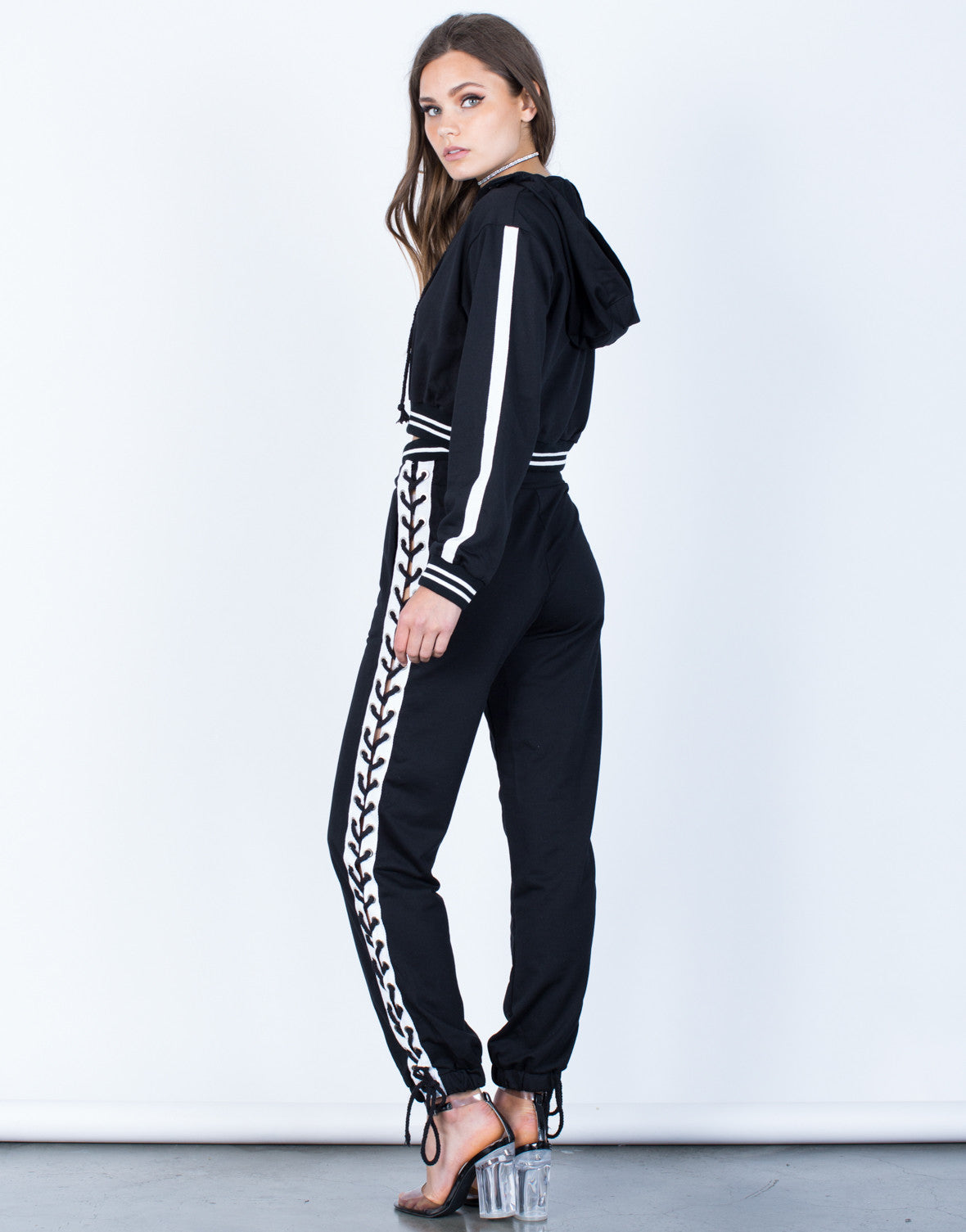 Back View of Lace-Up Hoodie and Pants Set