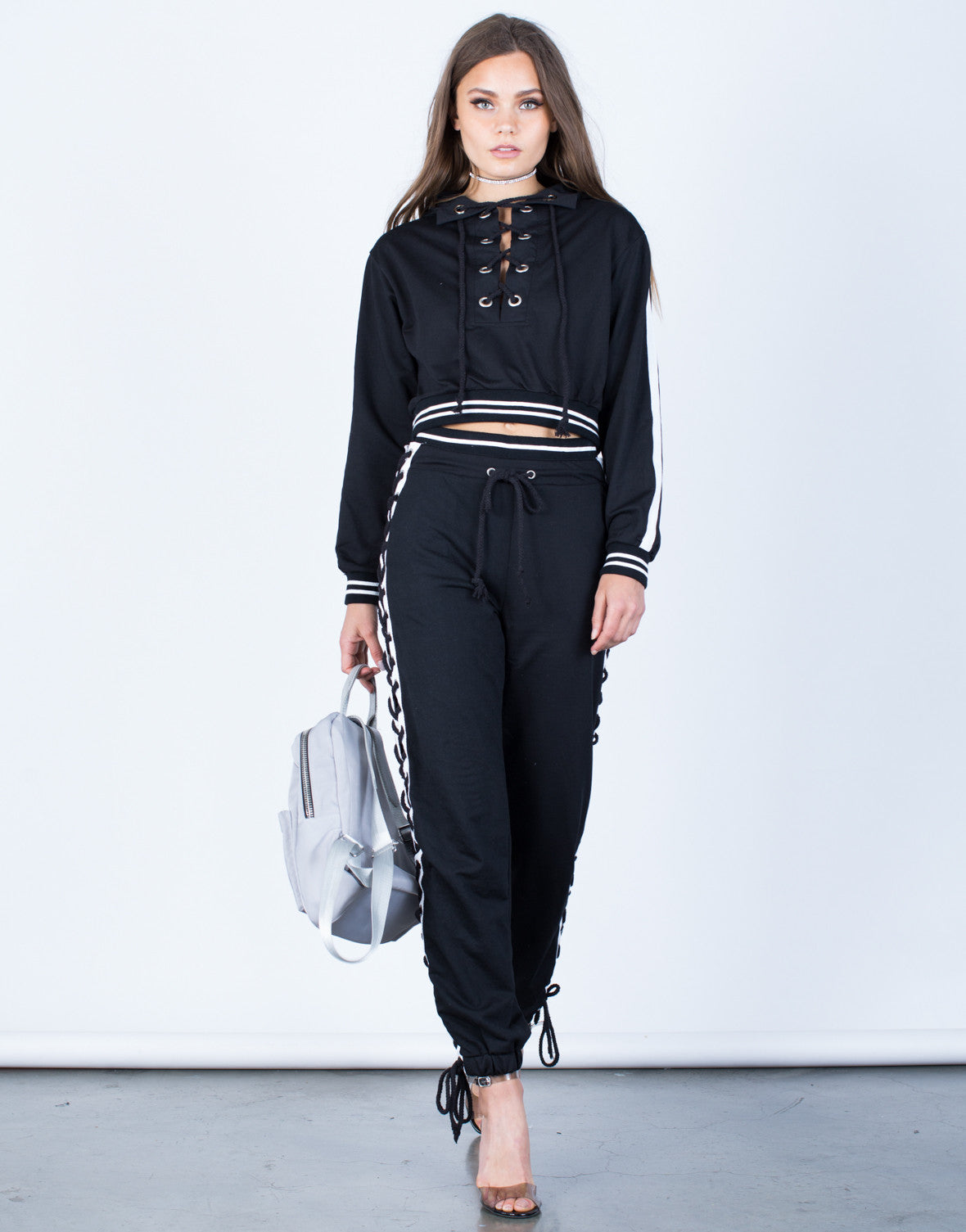Front View of Lace-Up Hoodie and Pants Set