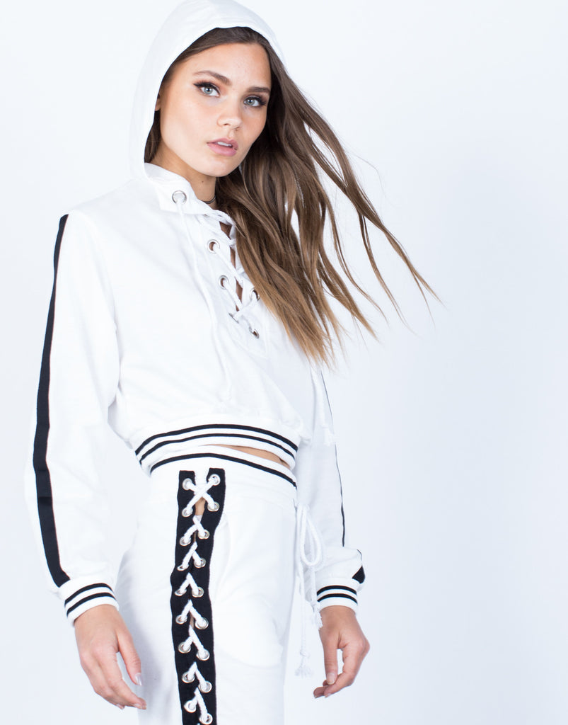 Detail of Lace-Up Hoodie and Pants Set