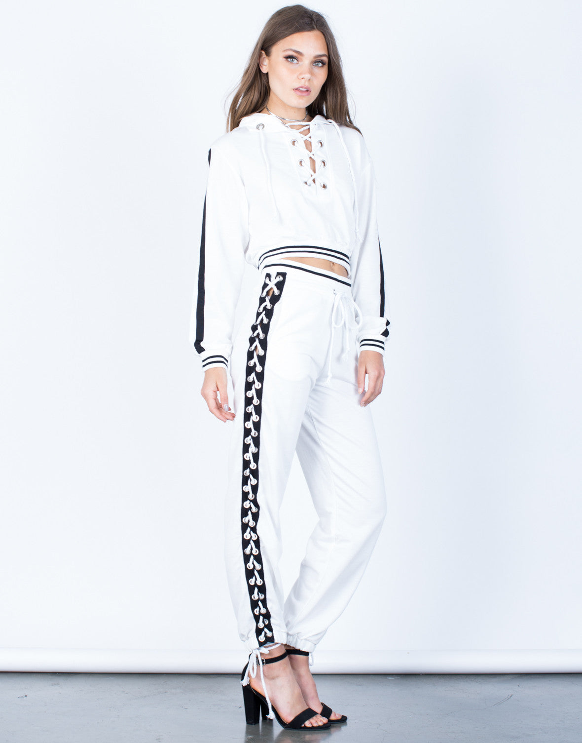 Side View of Lace-Up Hoodie and Pants Set