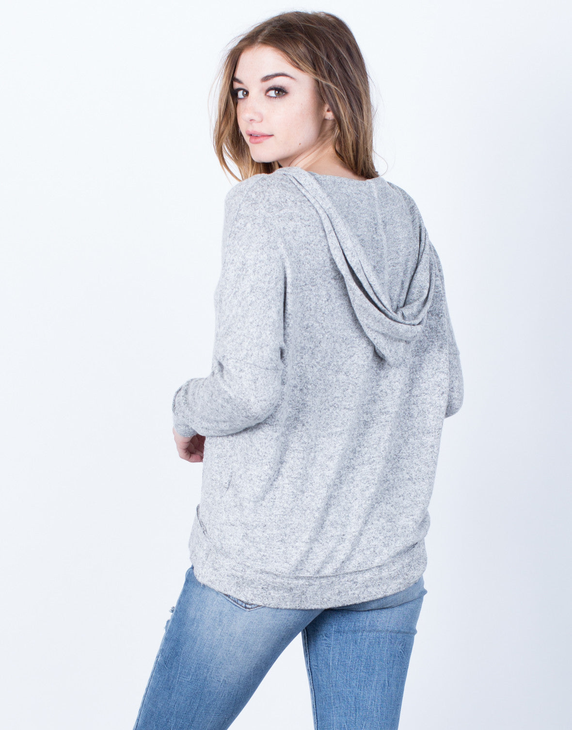 Lace-Up Hoodie Sweater