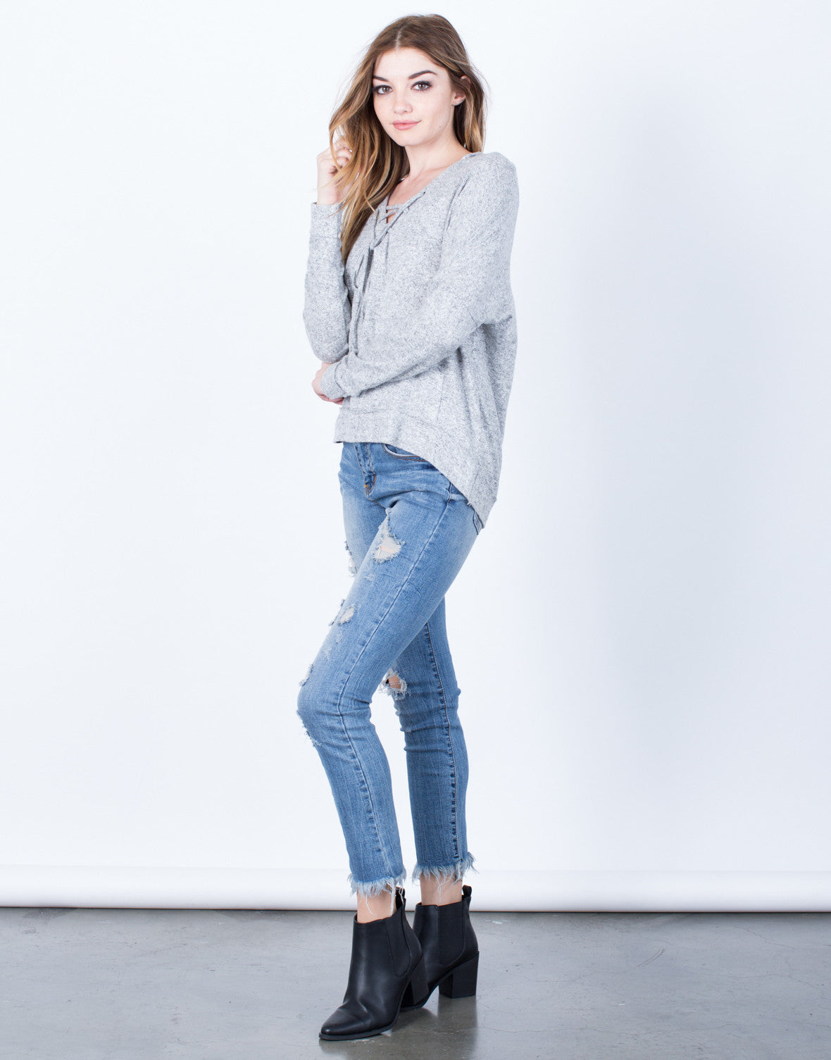 Lace-Up Hoodie Sweater - 2020AVE