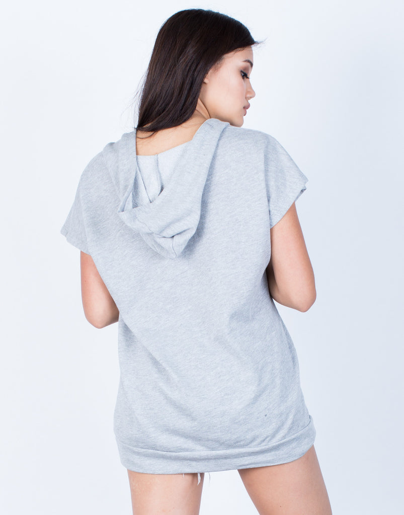 Back View of Lace-Up Hoodie Tunic