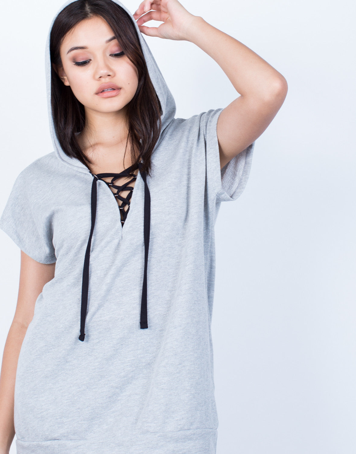 Lace-Up Hoodie Tunic