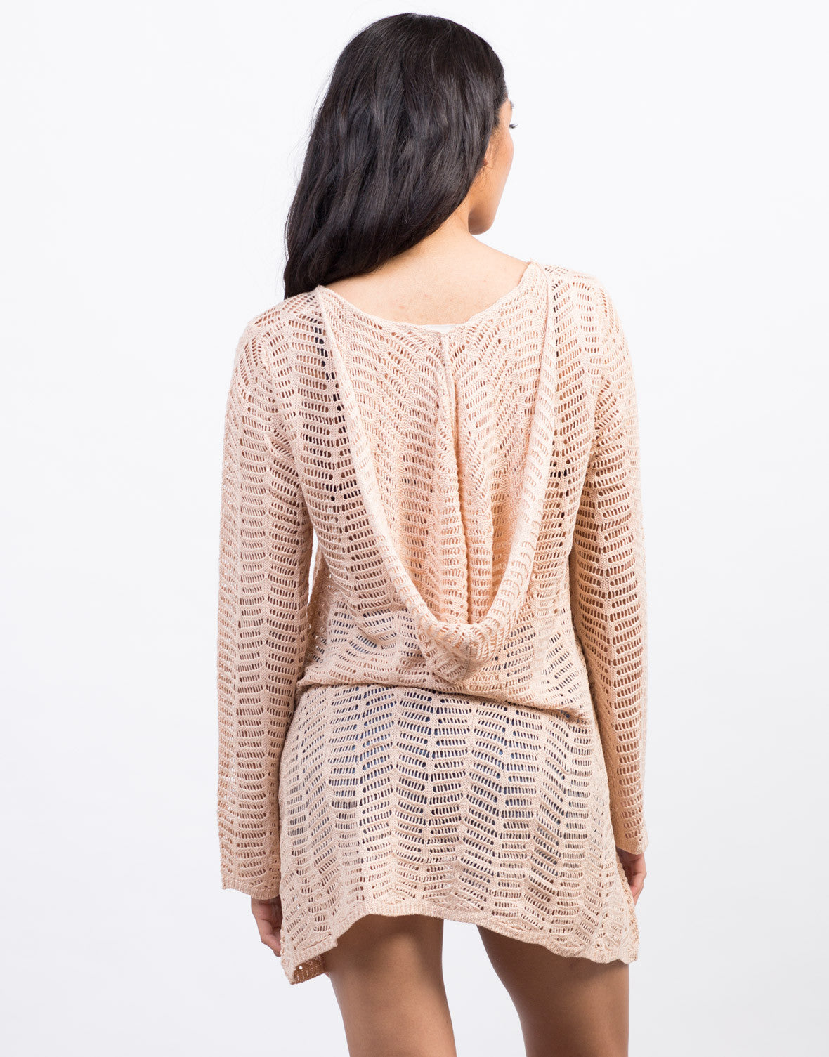 Back View of Lace-Up Knit Sweater Dress