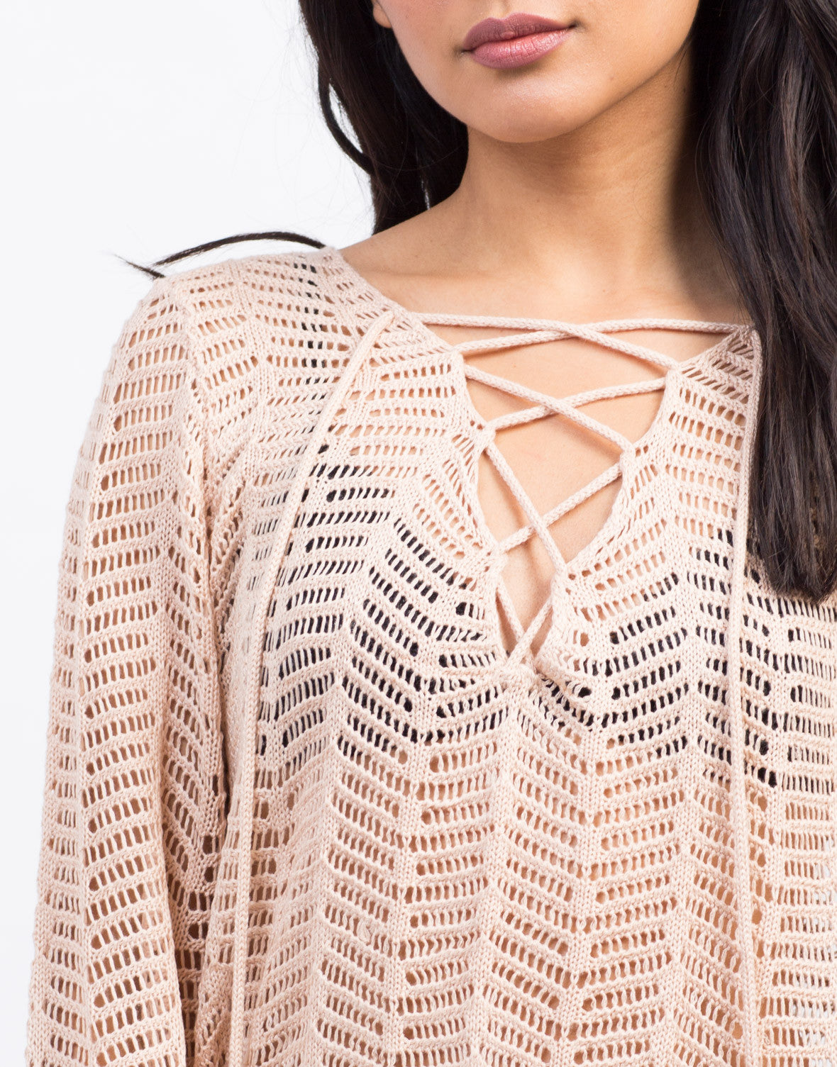 Detail of Lace-Up Knit Sweater Dress