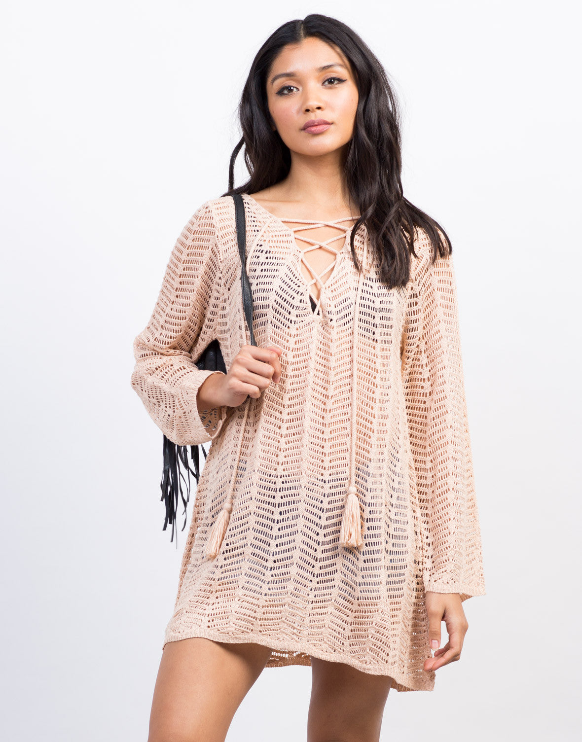 Front View of Lace-Up Knit Sweater Dress