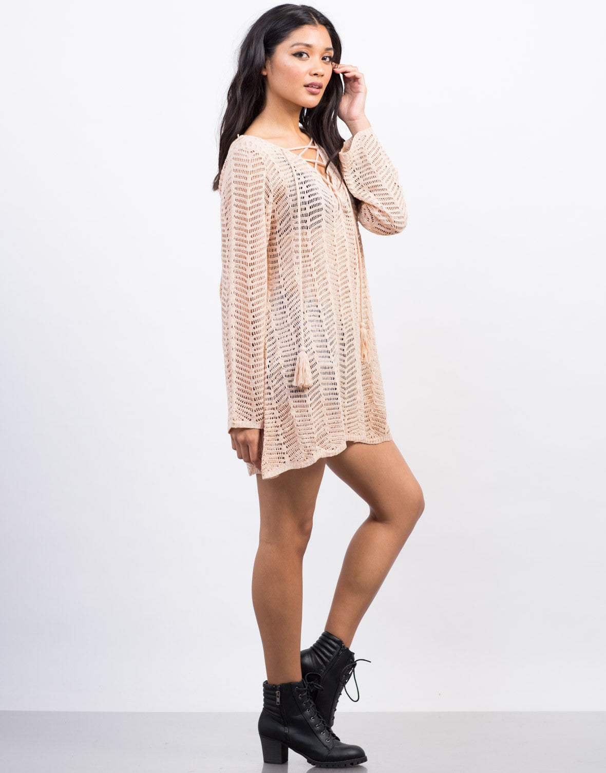 Side View of Lace-Up Knit Sweater Dress