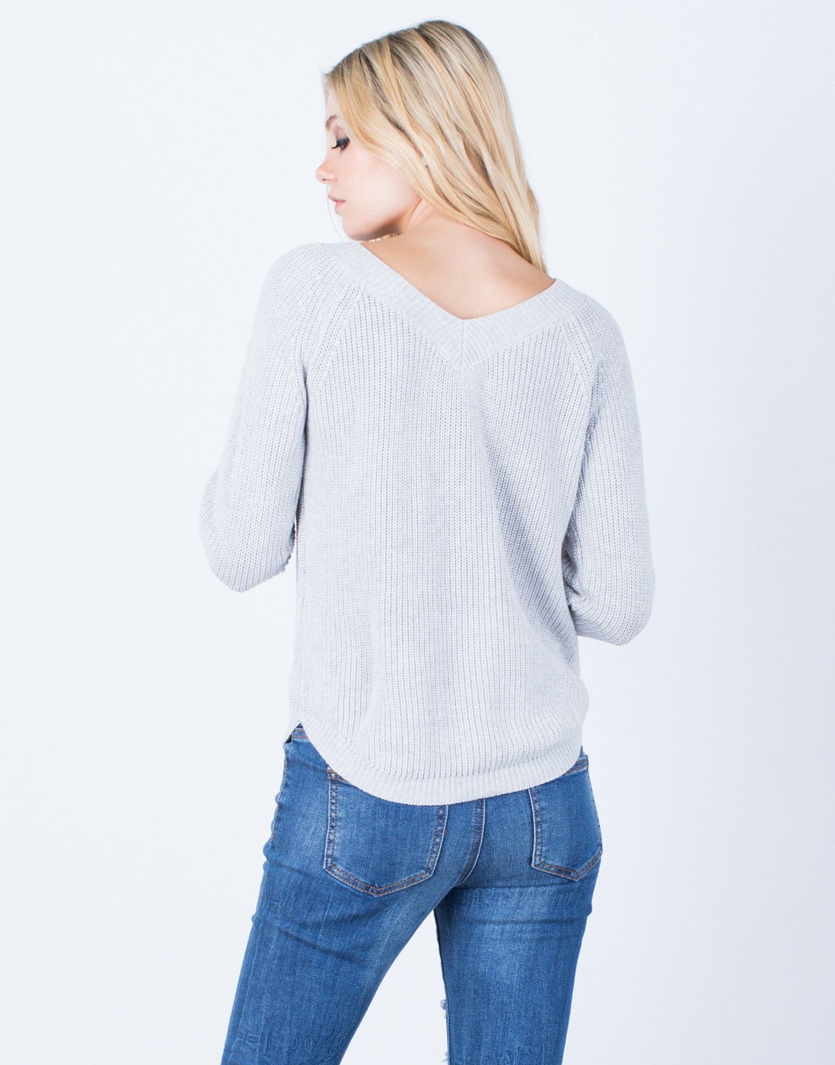 Back View of Lace-Up Knit Sweater