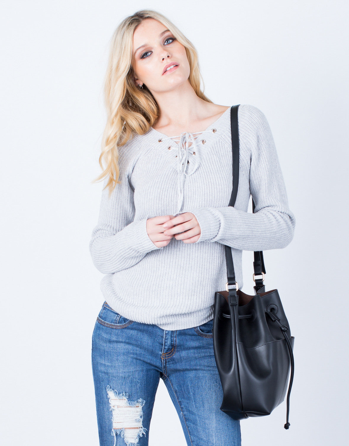 Front View of Lace-Up Knit Sweater