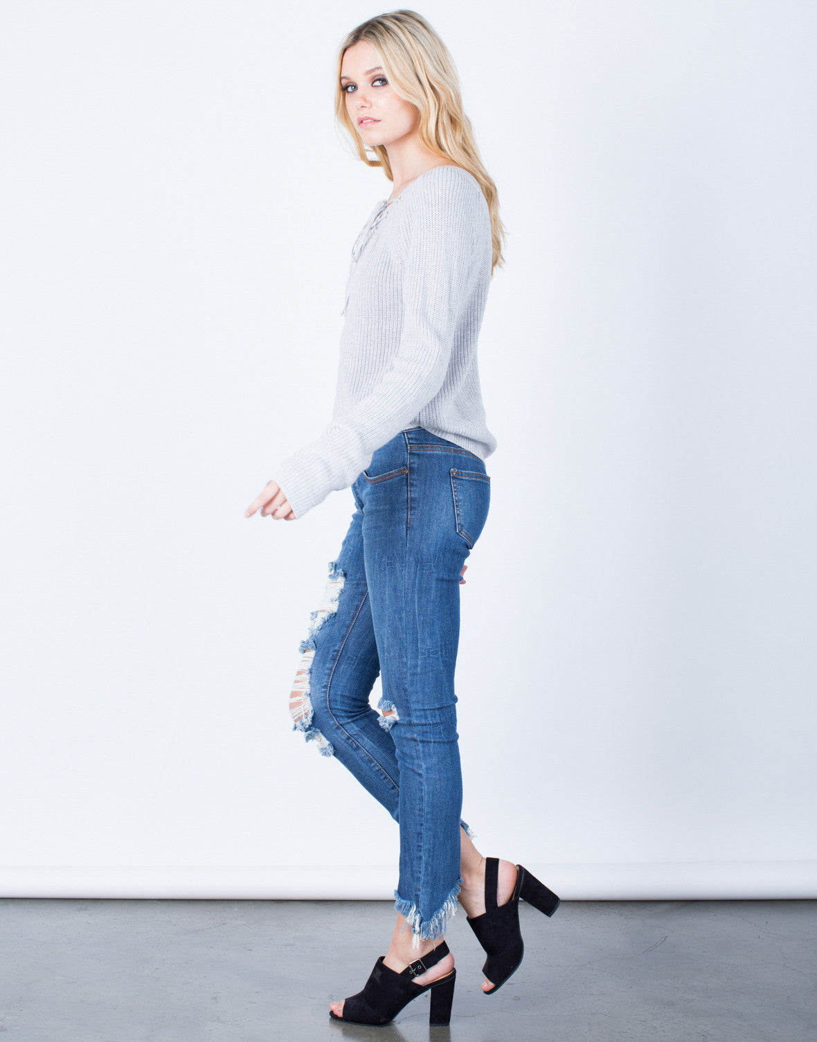 Side View of Lace-Up Knit Sweater