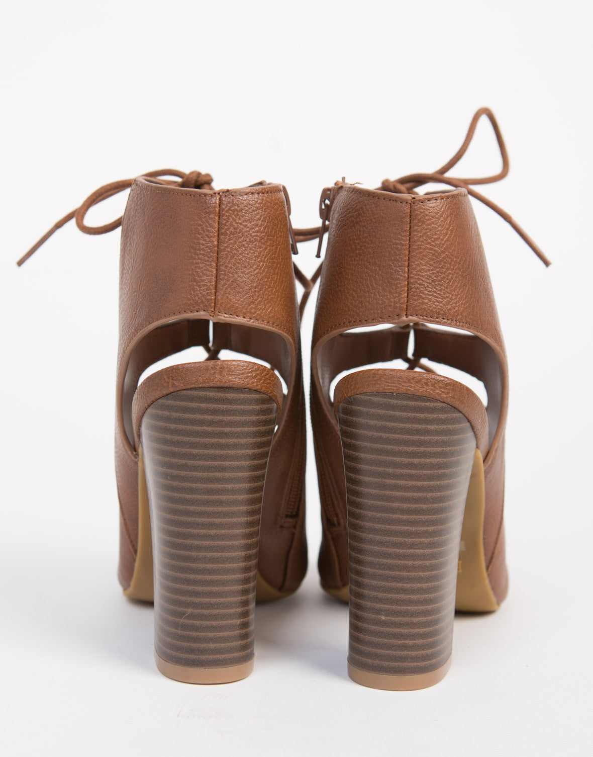 Lace-Up Leather Sandal Heels