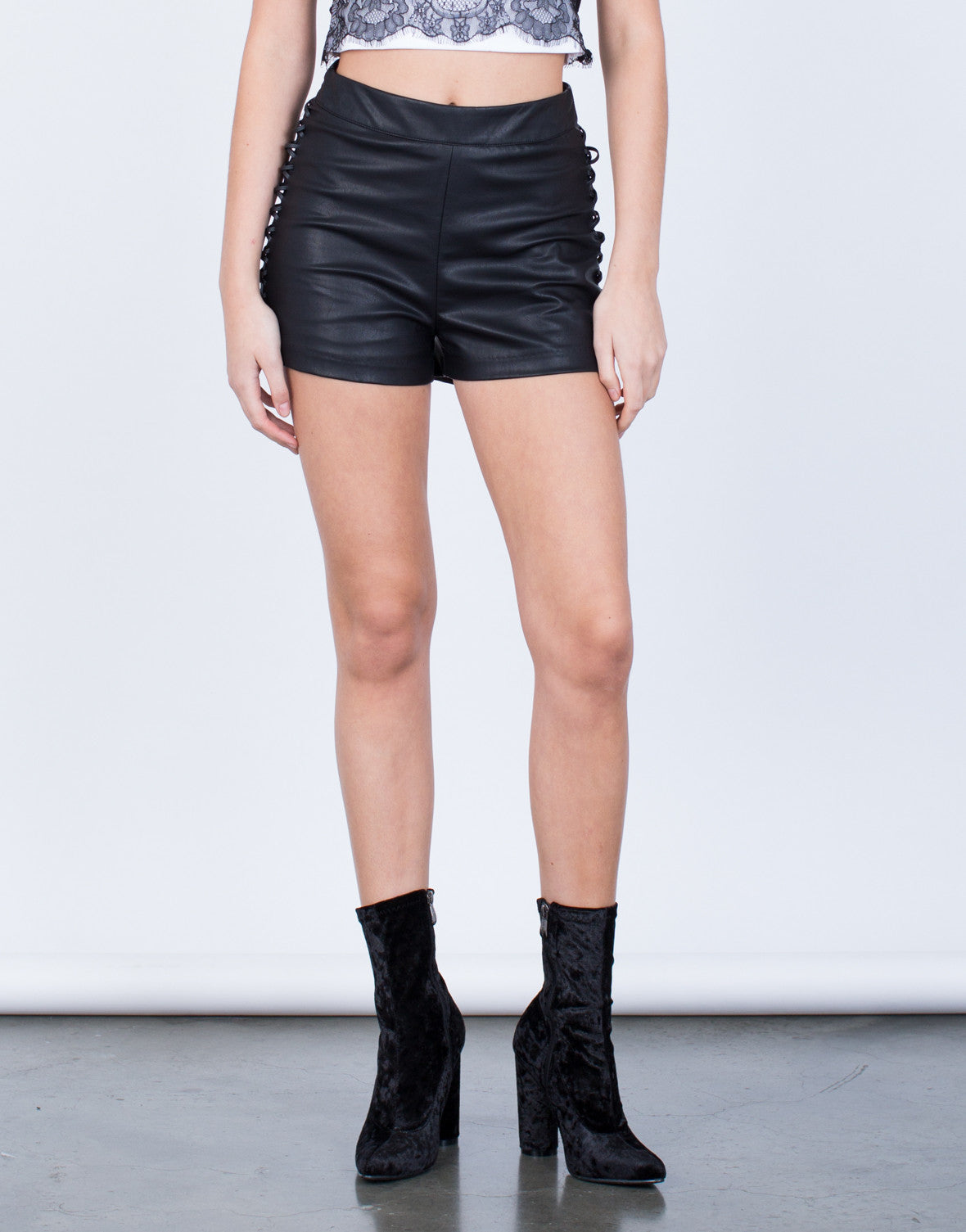 Lace-Up Leather Shorts