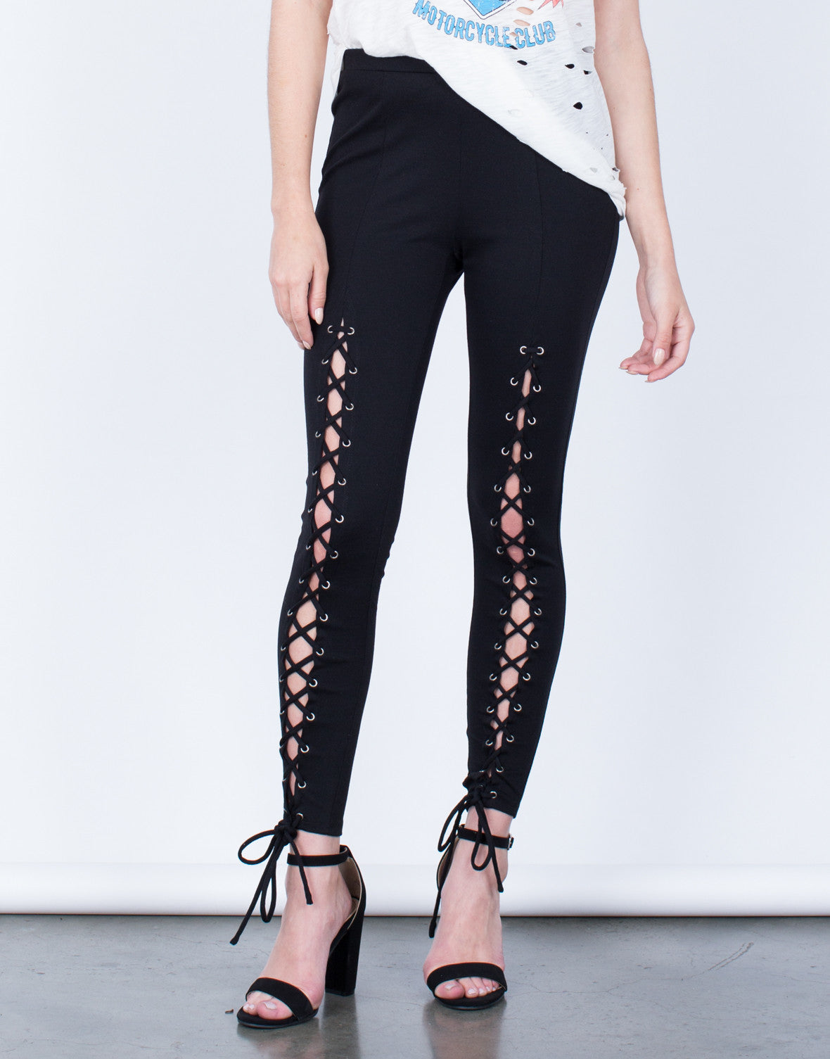 Front View of Lace-Up Leggings