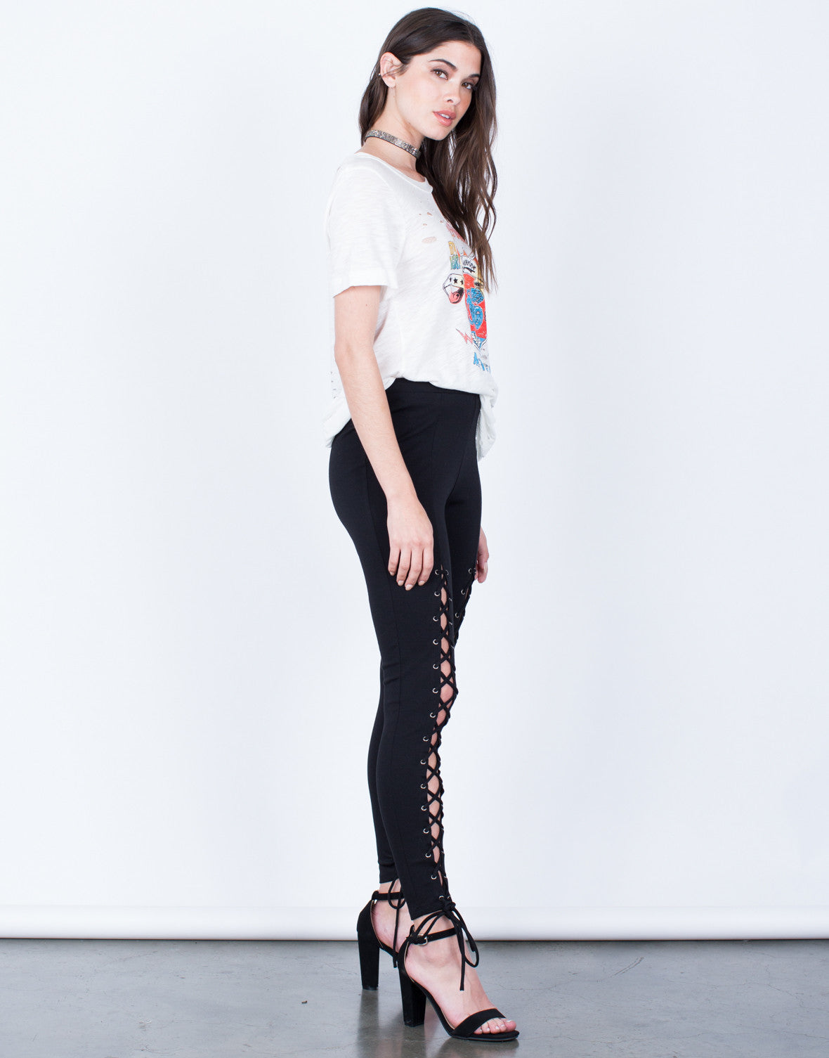 Side View of Lace-Up Leggings