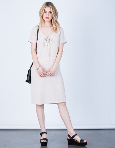 Front View of Lace-Up Linen Dress