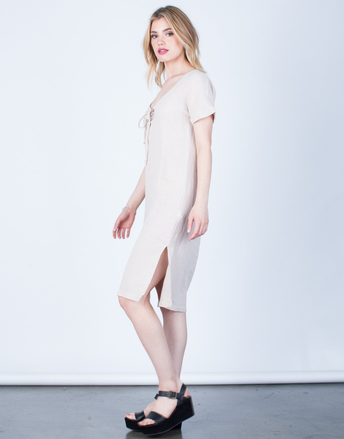 Side View of Lace-Up Linen Dress