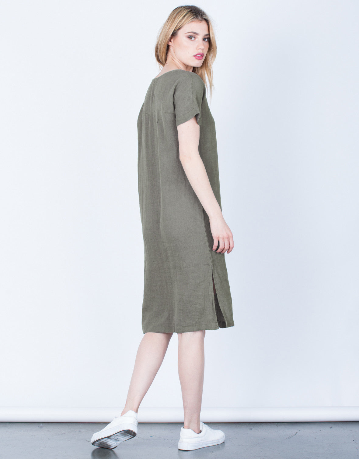 Back View of Lace-Up Linen Dress