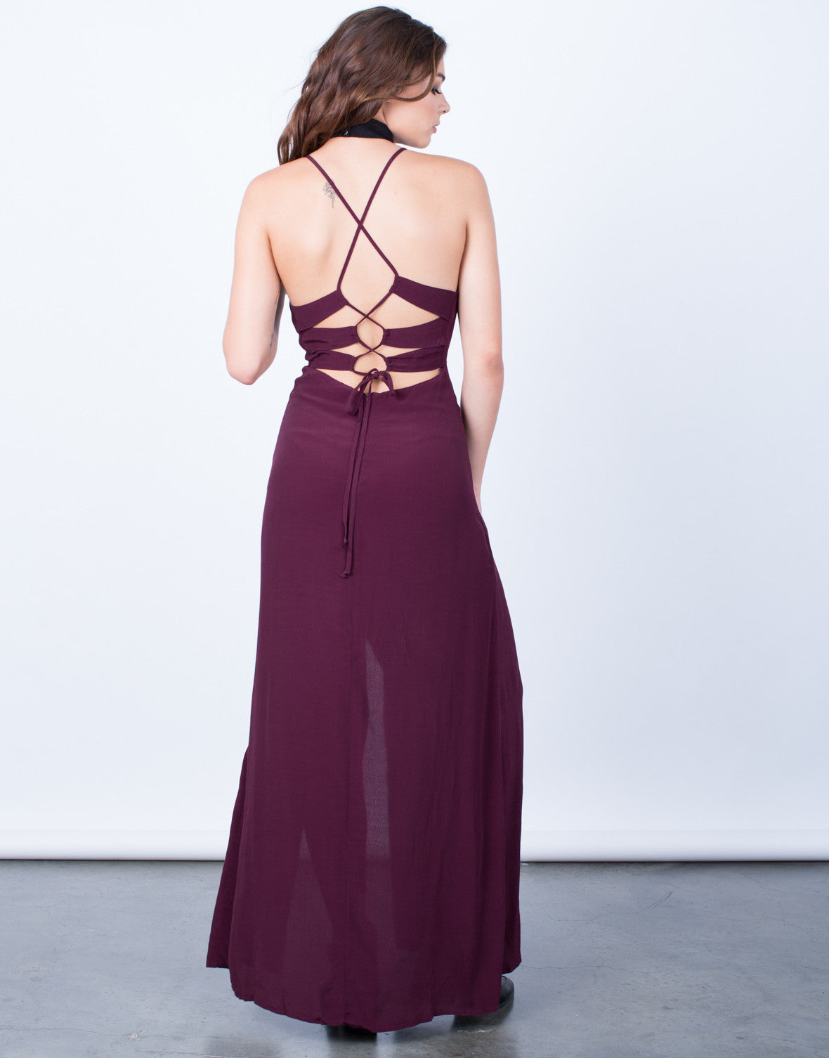 Back View of Lace-Up Maxi Dress