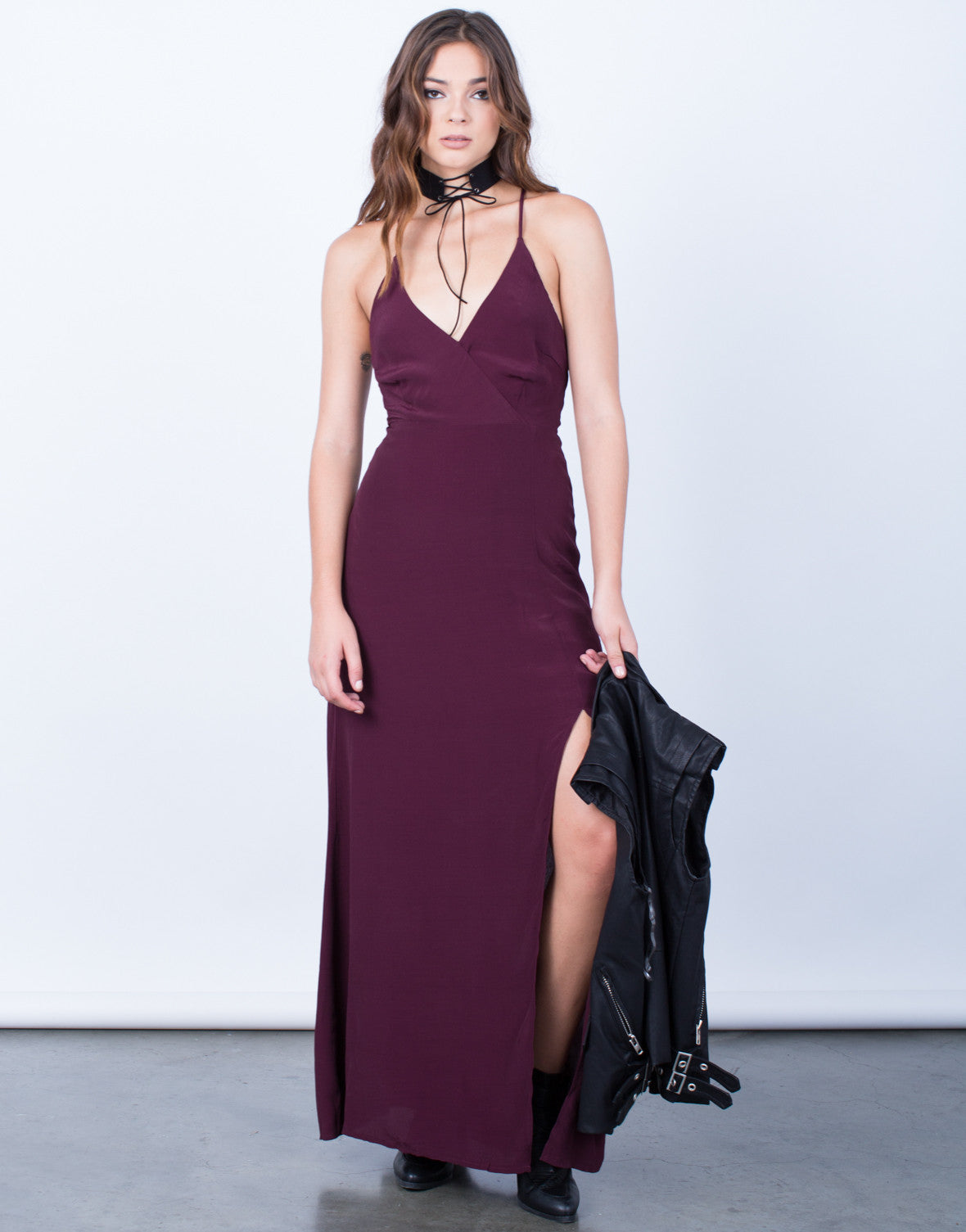Front View of Lace-Up Maxi Dress