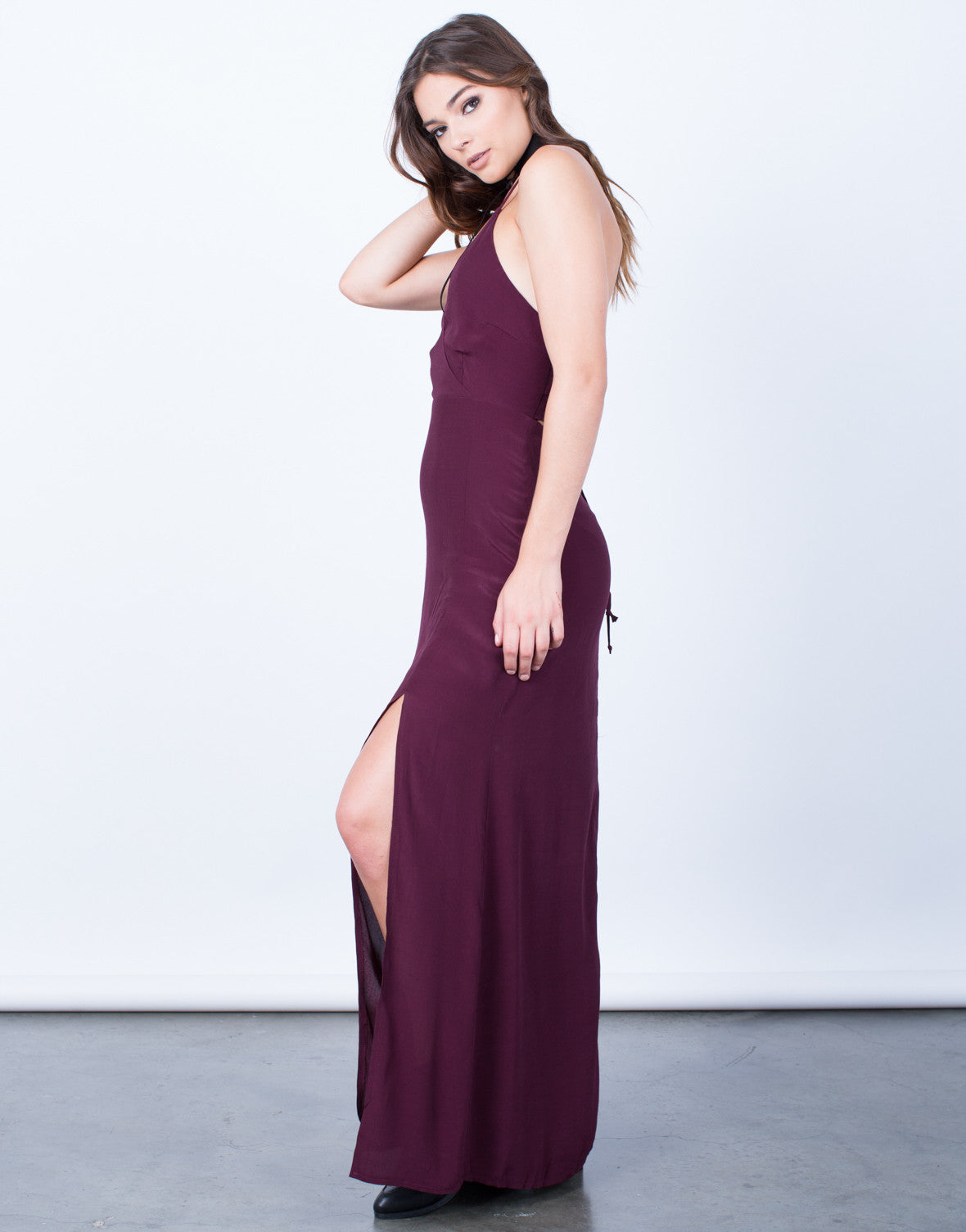 Side View of Lace-Up Maxi Dress