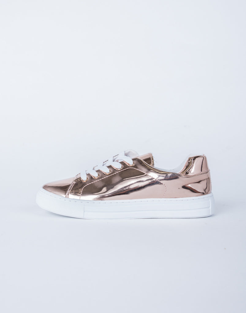 Lace-Up Metallic Sneakers