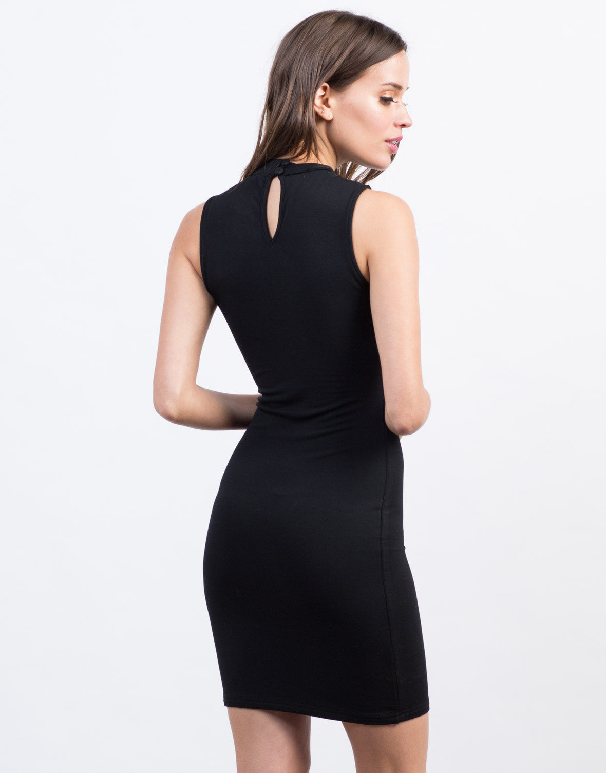 Back View of Lace-Up Mock Neck Dress