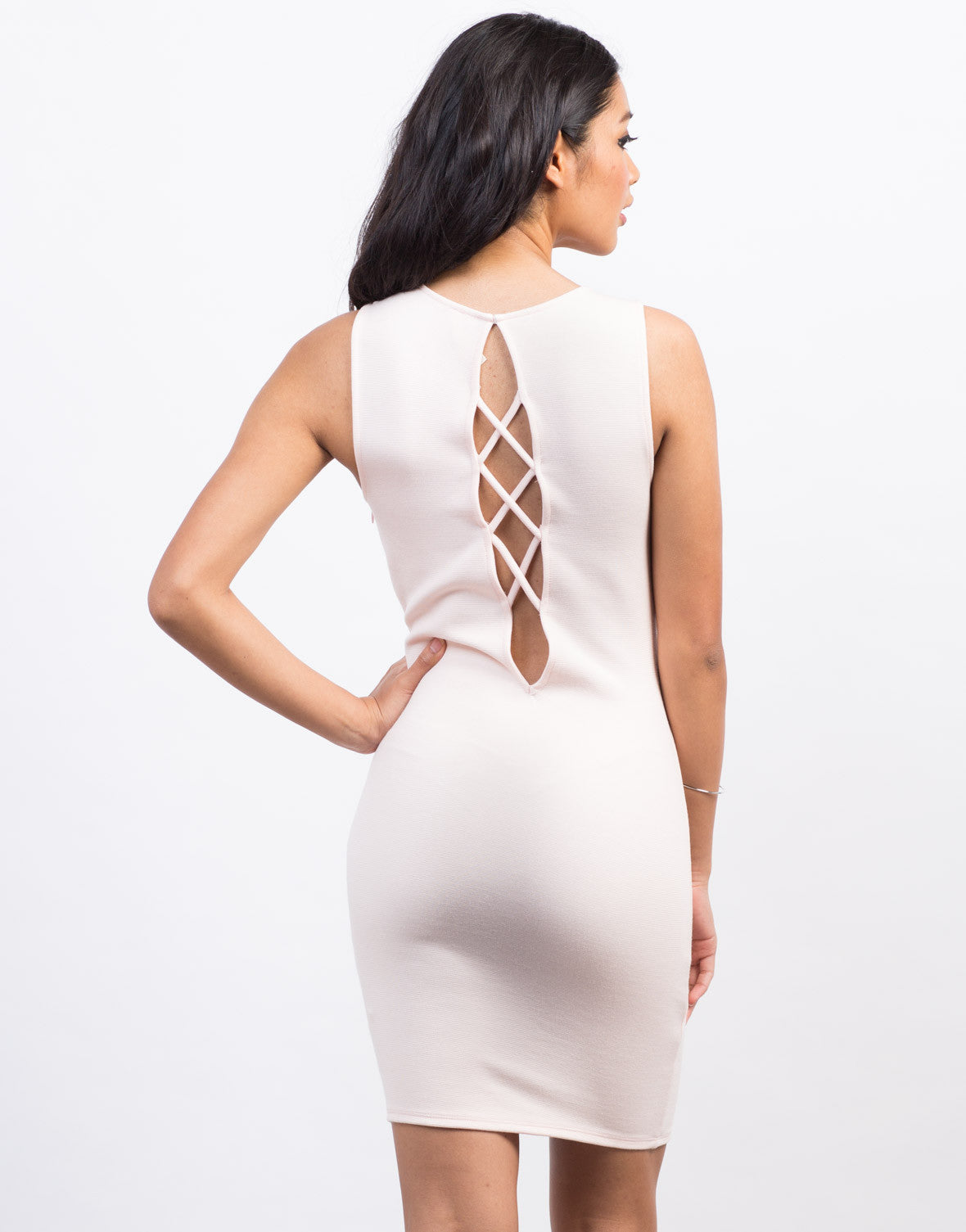 Back View of Lace-Up Party Dress