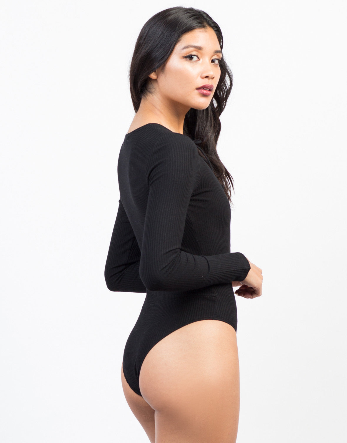 Lace-Up Rib Knit Bodysuit