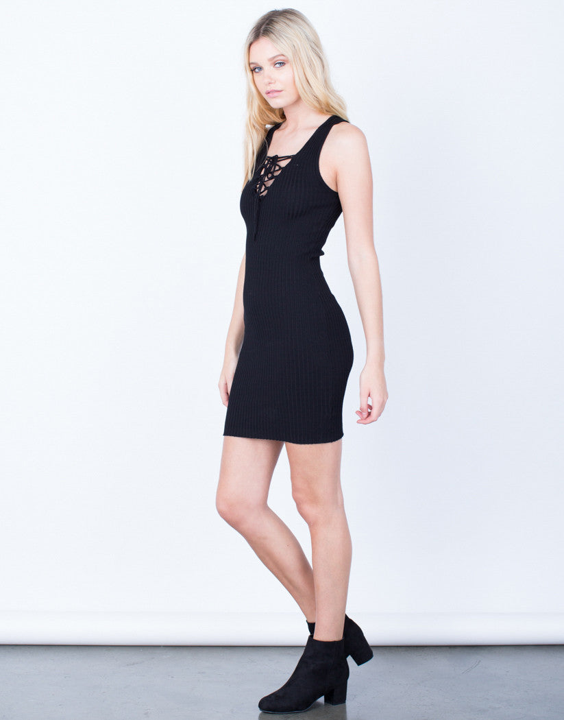 Side View of Lace-Up Ribbed Bodycon Dress