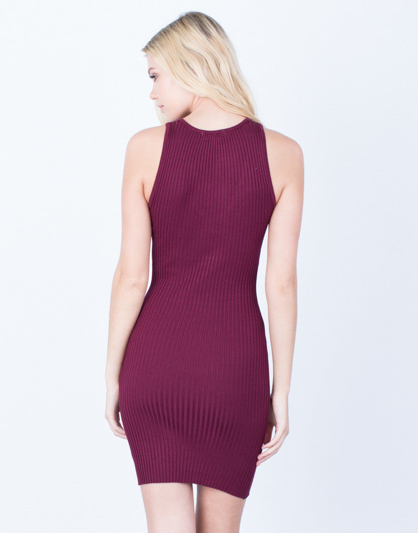 Back View of Lace-Up Ribbed Bodycon Dress