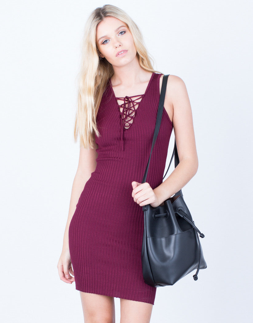 Front View of Lace-Up Ribbed Bodycon Dress